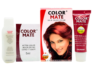 Color Mate Hair Color Cream, 6.65 Burgundy